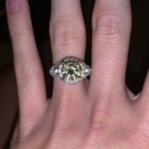 Sterling silver & yellow stone engagement ring